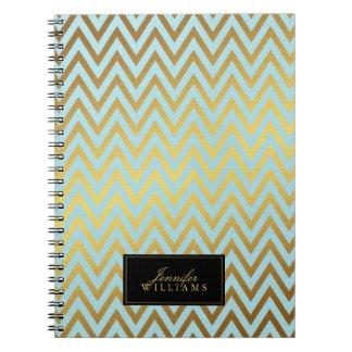 Mint and Faux Gold Foil Chevron Stripes Note Books