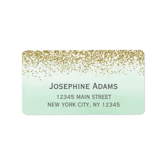 Mint and Gold Address Labels