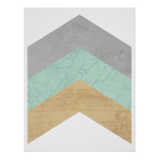 Mint and Gold Chevron geometric poster