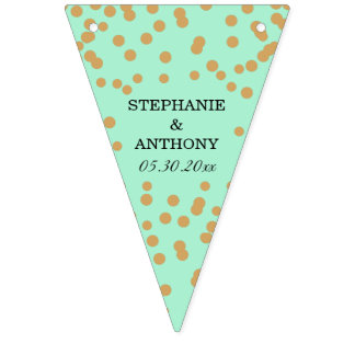 Mint and Gold Confetti Wedding Bunting