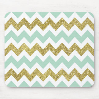 Mint and Gold Faux Glitter Chevron Mouse Pad