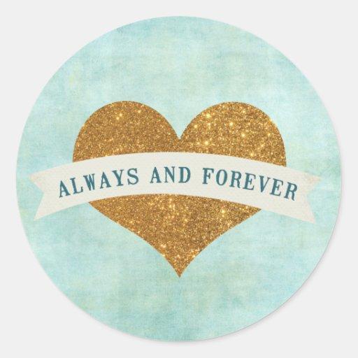 Mint and Gold Heart Banner Sticker