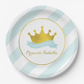 Mint and Gold Princess Birthday Party 9 Inch Paper Plate