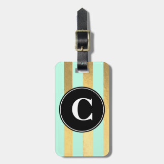 Mint and Gold Stripe Initial Luggage Tag