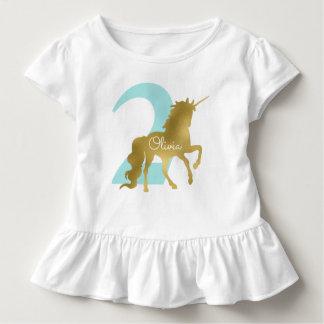 Mint and Gold Unicorn Milestone Birthday Toddler T-Shirt