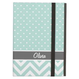 Mint and Gray Chevron Dots Monogram iPad Air Cover