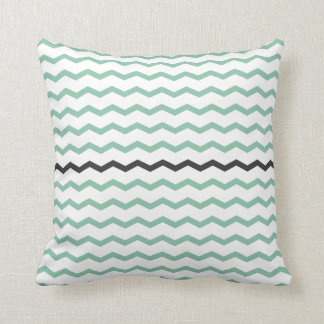 Mint and Gray Chevron Throw Pillow