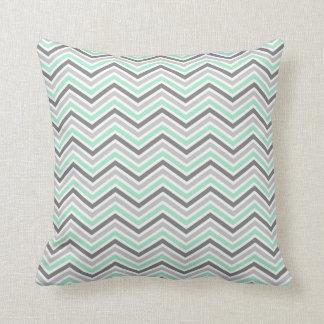 Mint and Gray Chevron Zigzag Pattern Cushion