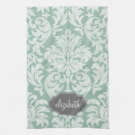 Mint and Gray Damask Pattern Custom Name Hand Towel