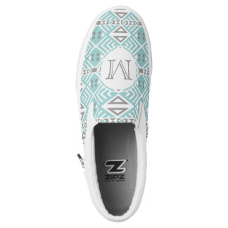 Mint and Gray Geometric Tribal Pattern Monogram Slip-On Shoes