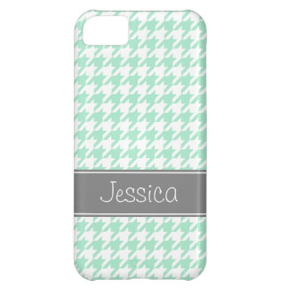 Mint and Gray Houndstooth Personalized iPhone 5C Case