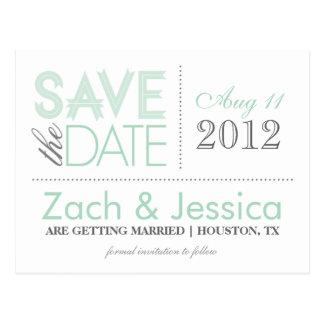 Mint and Gray Modern Typography Save the Date Postcard