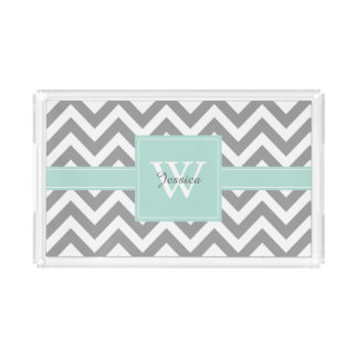 Mint and Gray Monogrammed Chevrons Pattern