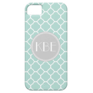Mint and Gray Quatrefoil with Custom Monogram iPhone 5 Cover