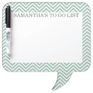 Mint and Grey Chevrons with Custom Name Dry Erase Board