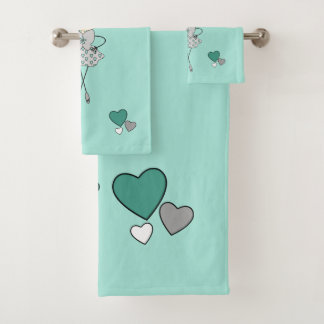 Mint and grey cute Ballerina flowers and hearts Bath Towel Set