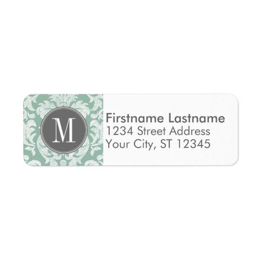 Mint and Grey Damask Pattern Custom Monogram Return Address Label