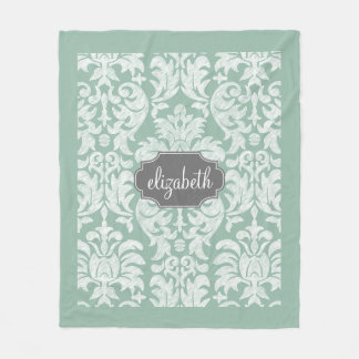 Mint and Grey Damask Pattern Custom Name Fleece Blanket