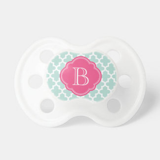 Mint and Hot Pink Modern Moroccan Custom Monogram Dummy