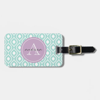 Mint and Lilac Gail Print Luggage Tag