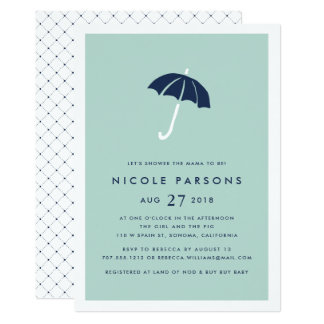 Mint and Navy Umbrella Baby Shower Invitation