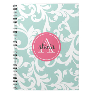 Mint and Pink Monogrammed Damask Print Note Books