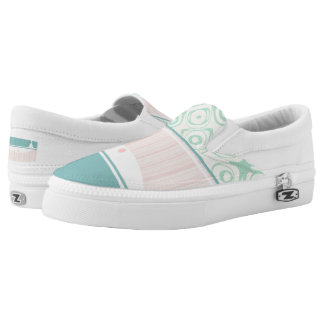 Mint and Pink Pastel Unisex Zipz Slip- On Sneakers