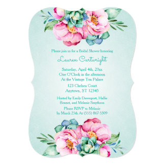 Mint and Pink Watercolor Flower Invitation