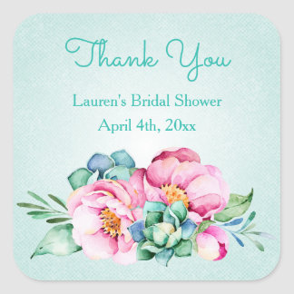 Mint and Pink Watercolor Flower Stickers