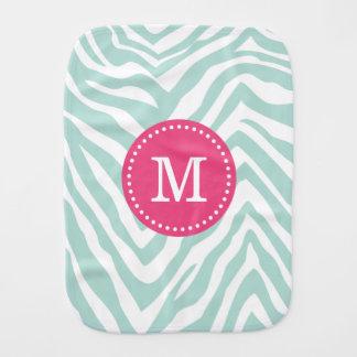 Mint and Pink Zebra Stripes Custom Monogram Baby Burp Cloths