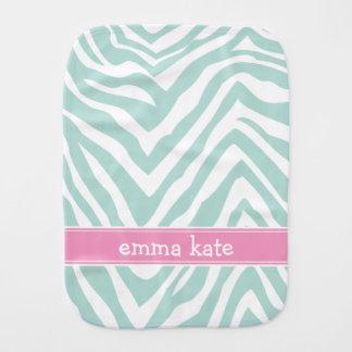 Mint and Pink Zebra Stripes Custom Monogram Burp Cloth