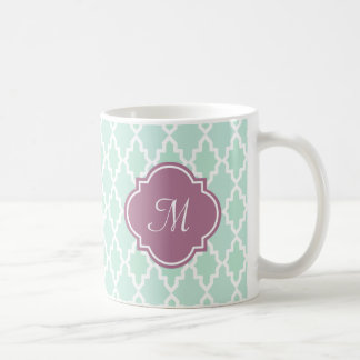 Mint and Plum Moroccan Monogram Coffee Mug
