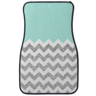 Mint and Silver Faux Glitter Chevron Car Mat
