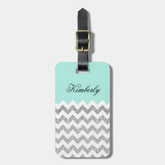 Mint and Silver Faux Glitter Chevron Luggage Tag