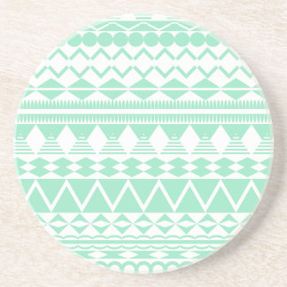 Mint and White Aztec Pattern Drink Coasters