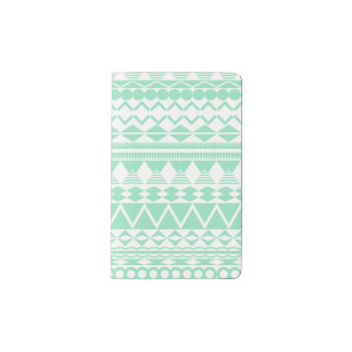 Mint and White Aztec Pattern Pocket Moleskine Notebook