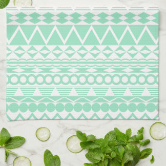 Mint and White Aztec Pattern Tea Towel