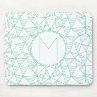 Mint and White Modern Geometric Pattern Monogram Mouse Pad