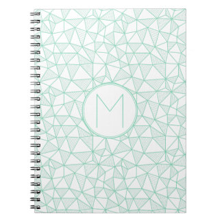 Mint and White Modern Geometric Pattern Monogram Note Books