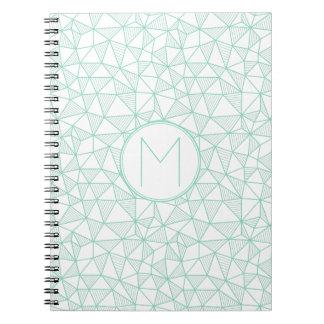 Mint and White Modern Geometric Pattern Monogram Notebooks