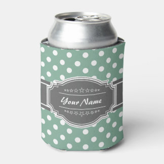 Mint And white polka dots with gray personalized n Can Cooler