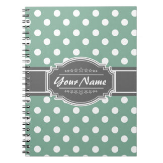 Mint And white polka dots with gray personalized n Spiral Note Books