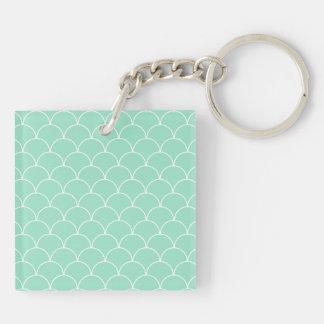 Mint and White Scallop Pattern Key Ring