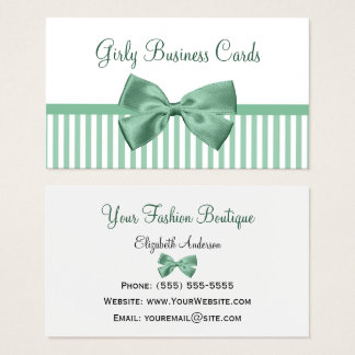 Mint and White Stripes With Girly Light Jade Bow Business Card