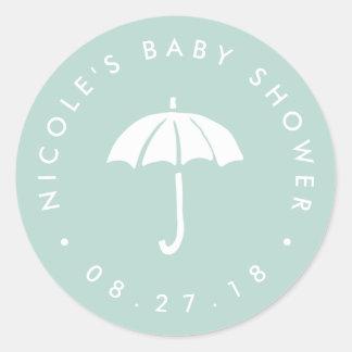 Mint and White Umbrella Baby Shower Classic Round Sticker