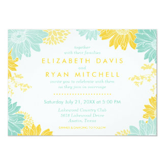Mint and Yellow Modern Floral Wedding Invitation