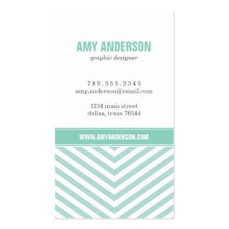 Mint & Aqua Modern Chevron Stripes Double-Sided Standard Business Cards (Pack Of 100)