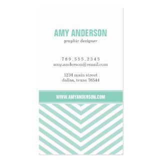 Mint & Aqua Modern Chevron Stripes Business Card