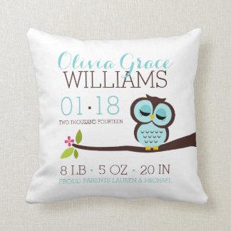 Mint Aqua Owl Baby Birth Announcement Throw Pillow