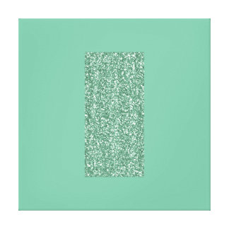 Mint Art Print with Faux Glitter on Canvas Stretched Canvas Print